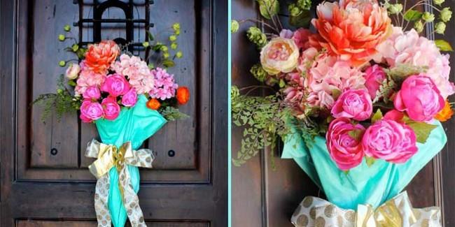 Create a beautiful spring door decoration using an old umbrella.
