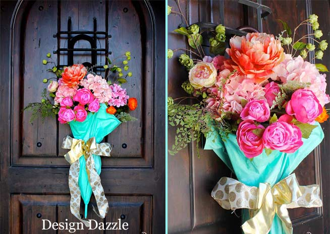Create a beautiful spring door decoration using an old umbrella.