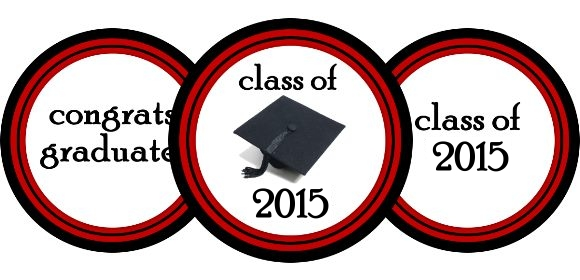 graduation cupcake toppers - free printable in red or blue