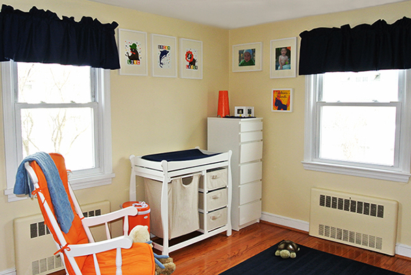 Orange and blue little boys room
