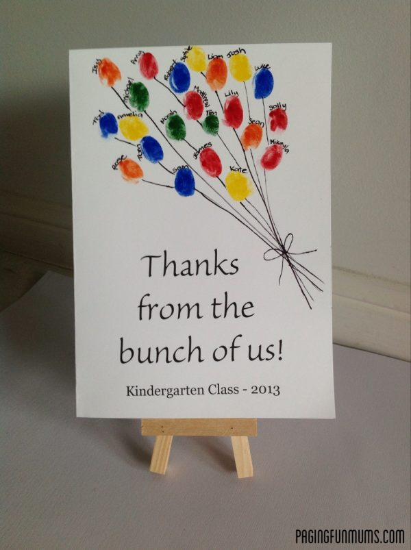 Thank you card for the teacher decorated with kids fingerprints to create a big bunch of balloons.