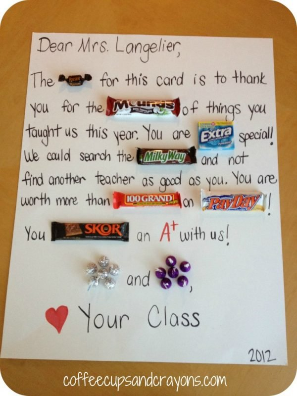 Candy gram for teacher appreciation week.