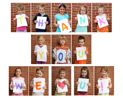 Pics of the kids in the class holding letters for teacher appreciation week craft idea.