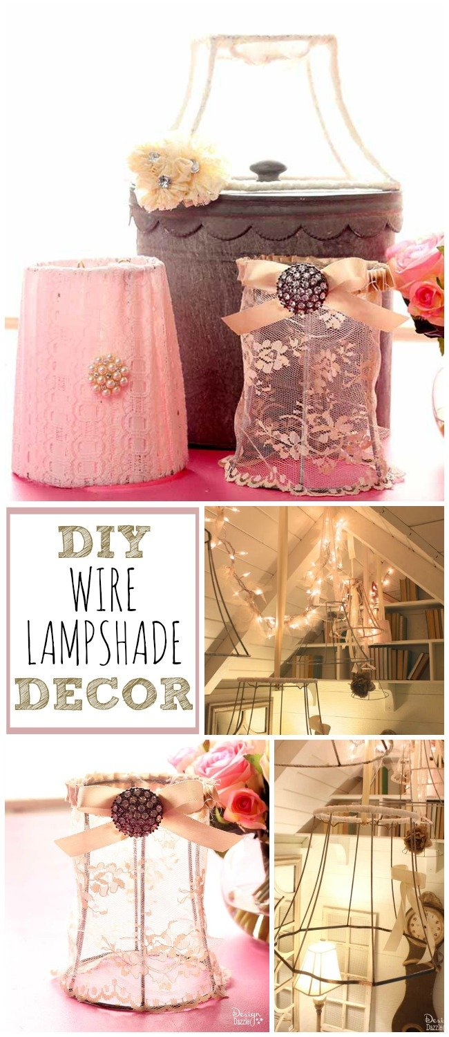 diy wire lampshade decor design dazzle. Black Bedroom Furniture Sets. Home Design Ideas