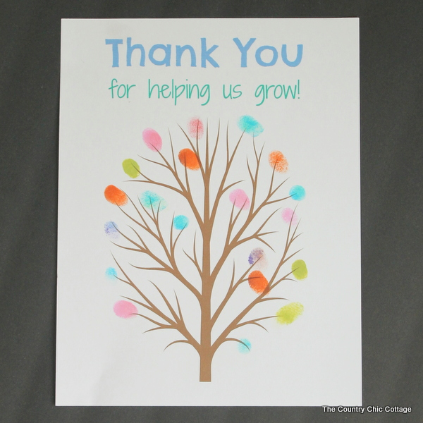 Fingerprint tree art for teacher appreciation craft idea.