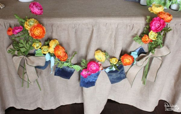 Jean pockets and flowers create a darling banner for a Farm Chic Bash! Design Dazzle