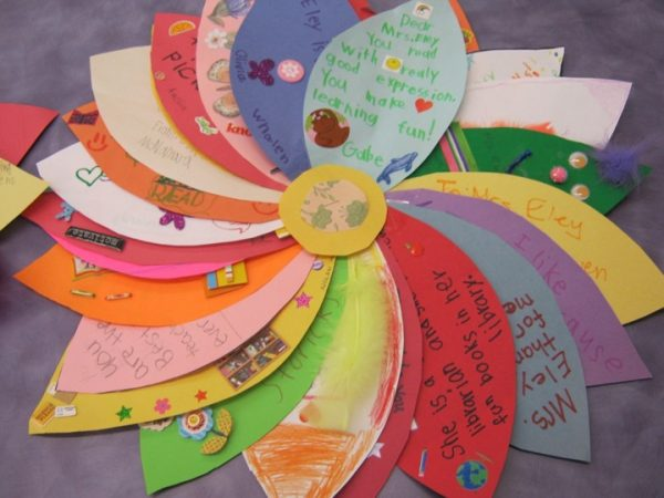 Notes for the teacher to create a pretty flower for teacher appreciation crafts