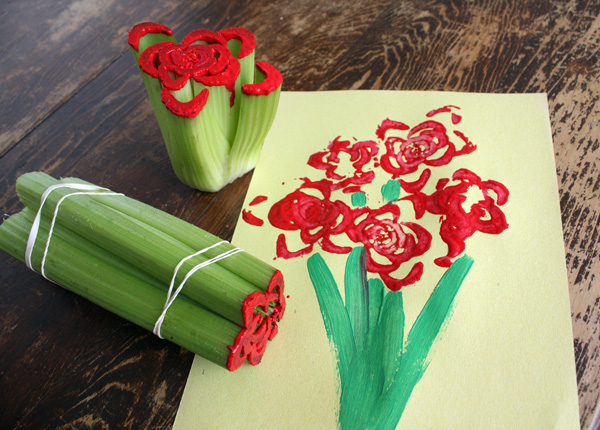Roses are red....but they used to be green! Create gorgeous art for mother's day using celery as a stamp!