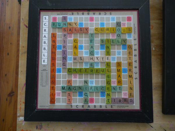 Make a scrabble board with words the kids use to describe their teacher for teacher appreciation week.