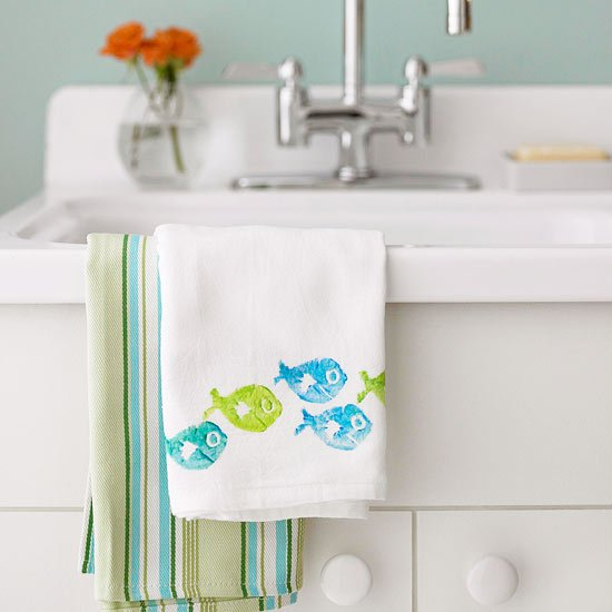stamped tea towel - quick and easy gift