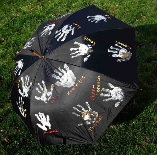 Handprints on an umbrella for a fun teacher appreciation craft and gift idea.