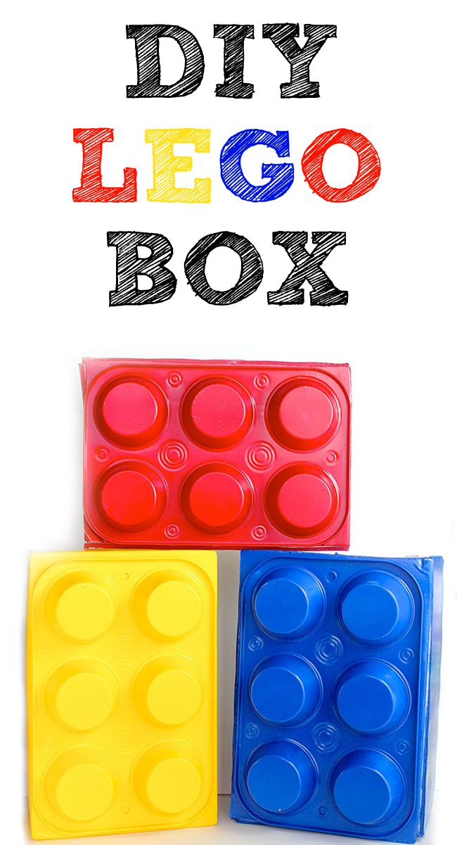 DIY LEGO Box made from dollar store muffin pans and a shoebox! Perfect LEGO party prop!
