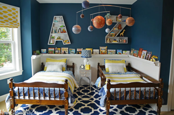 shared boys room - blue with great exploring details