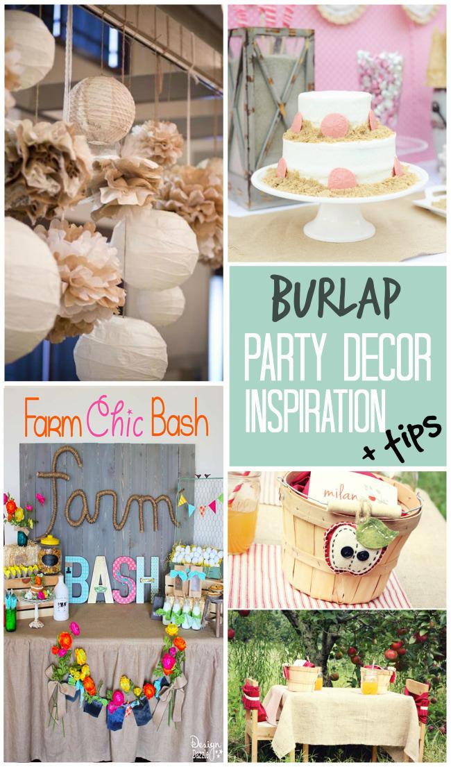 Fabulous burlap party decor inspiration + tips to incorporate burlap into your next event!