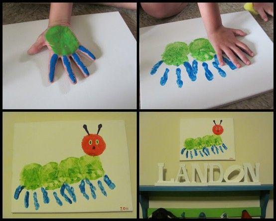 very hungry caterpillar handprint craft