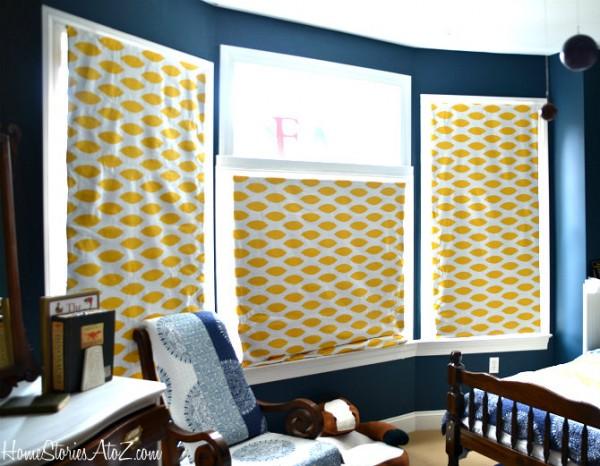 fabric covered roman shades