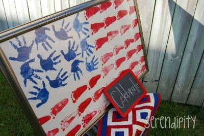 footprint and handprint american flag