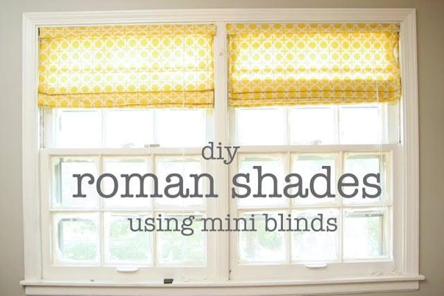 DIY roman shades using mini blinds