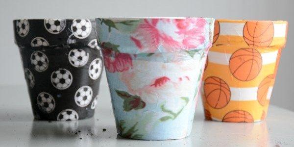 mod podge flower pots