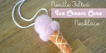 needle felted ice cream cone necklace