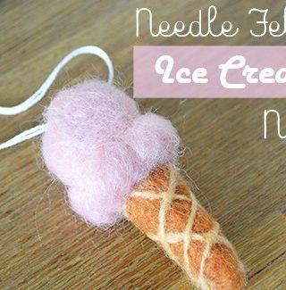 Needle Felt Ice Cream Cone Necklace