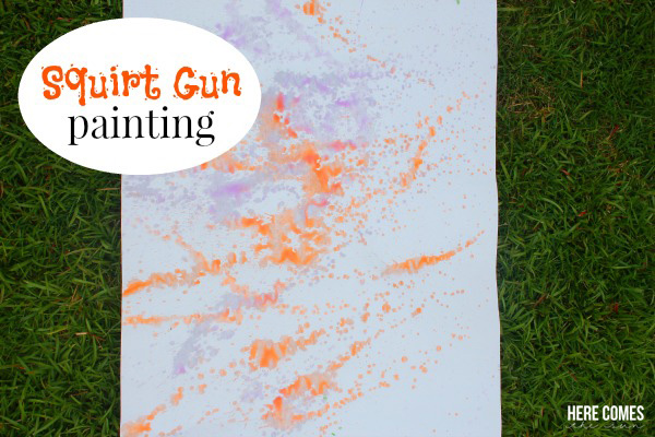 Squirt Gun Painting! A fun summer activity for the kids!