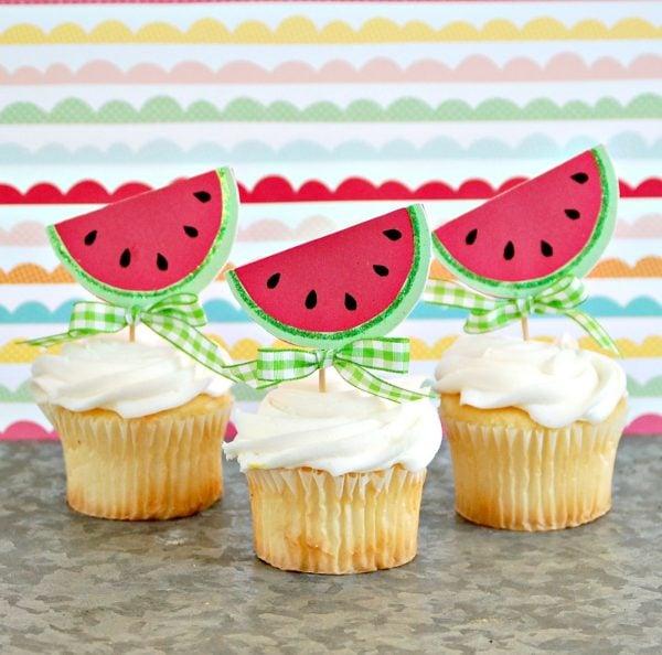 summer watermelon picnic cupcakes