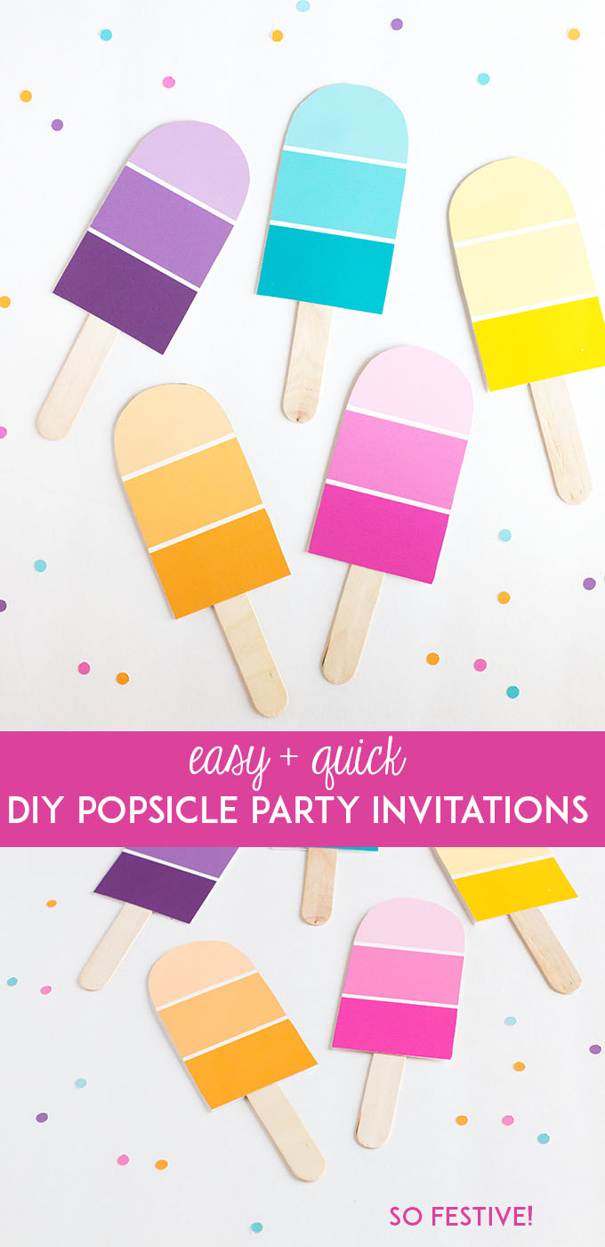 Easy DIY popsicle party invitations