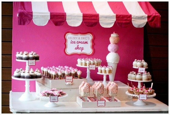 hot pink ice cream parlor