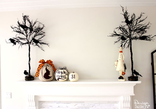 Halloween decor using pumpkins. Sharpie art on pumpkins! Free printables by Design Dazzle