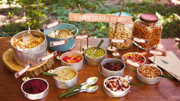 trail mix dessert table for camping party