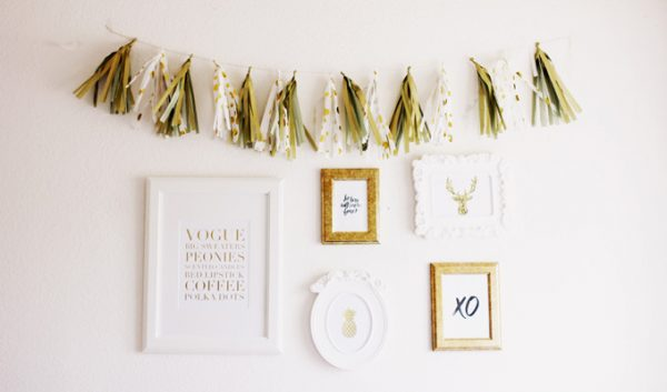 DIY projects to dress up your dorm room - tissue tassel garland + art prints