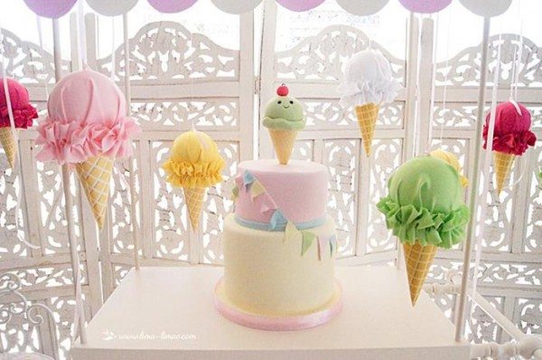 ice cream-themed first birthday party