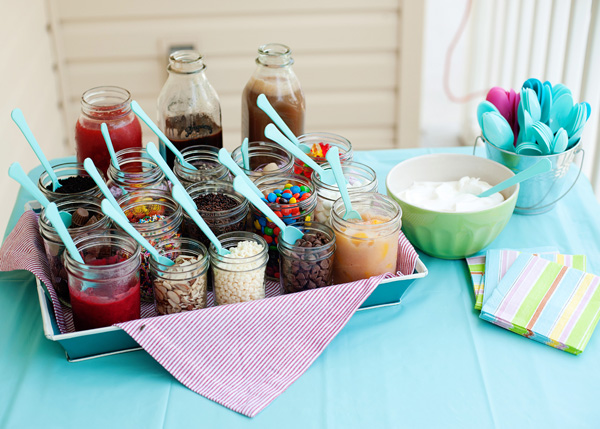 ice cream party with great topping display