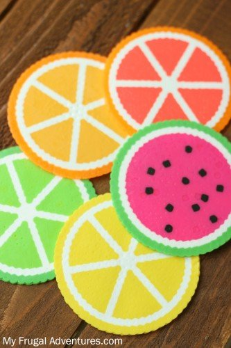 citrus coasters made from perler beads