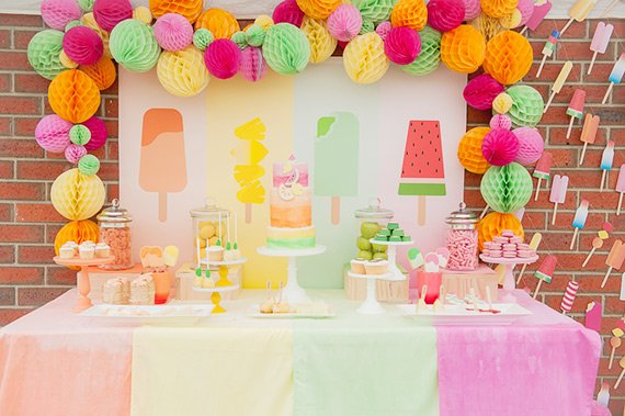 The most adorable pastel watercolor popsicle party ever!
