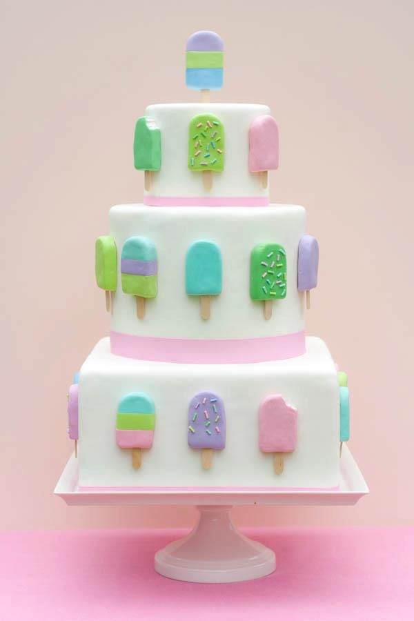 This fondant popsicle cake is amazing and so perfect for a popsicle party
