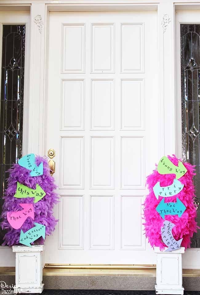 Alice in Wonderland feather boa topiary with FREE printables - This way, That way, Mad Hatters Way signs.  Design Dazzle