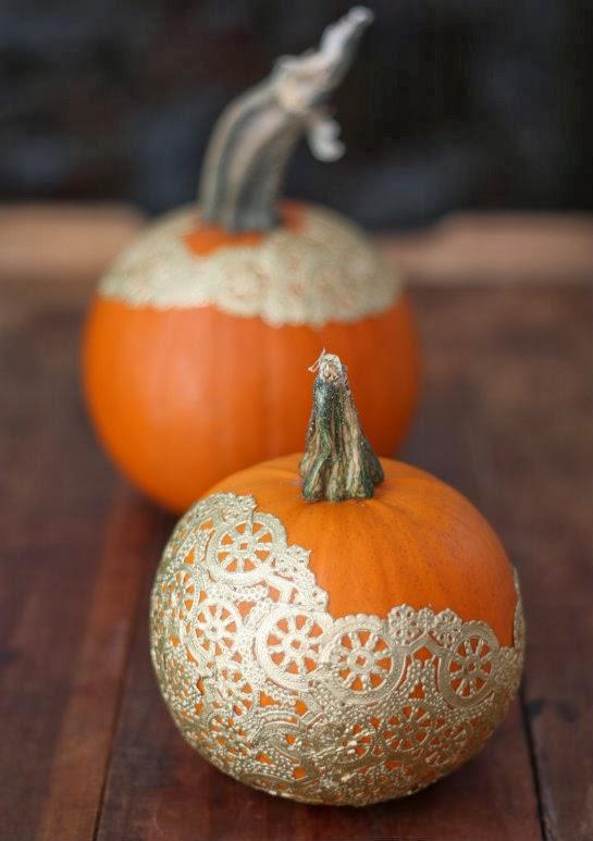 Gold Doily Pumpkins