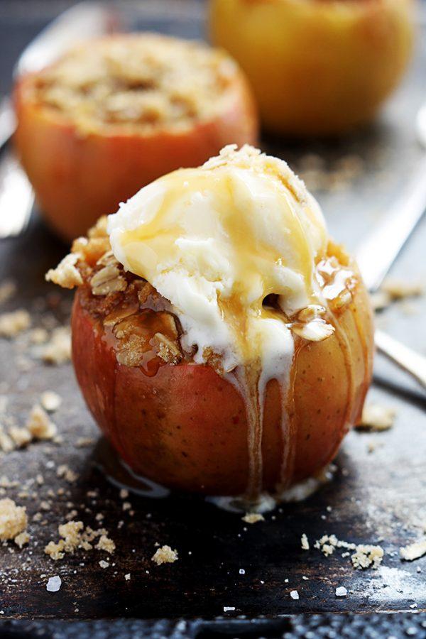 Stuffed Apple Crisp! Warm apple and ice cream... yes please!
