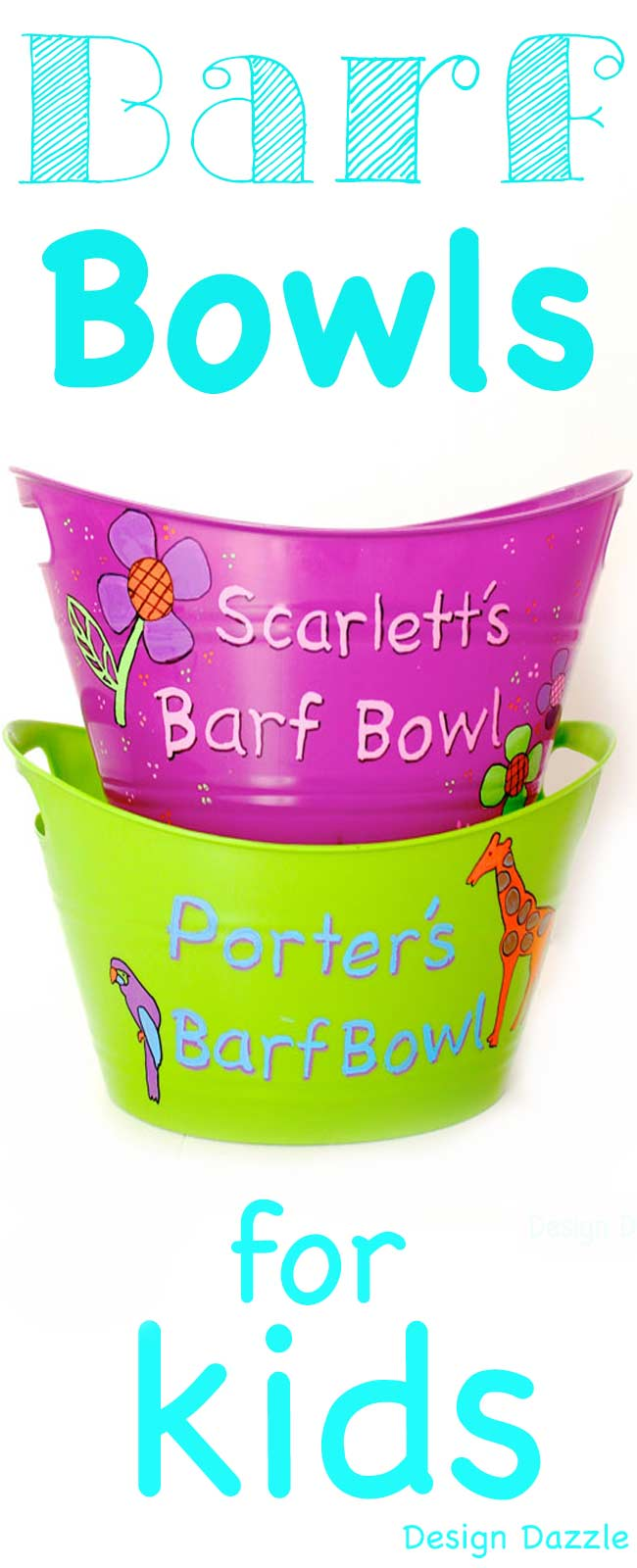 Barf Bowls for Kids! Colorful, bright and personalized bowls can help when your littles get sick. Design Dazzle