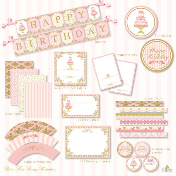 cake tea party printables