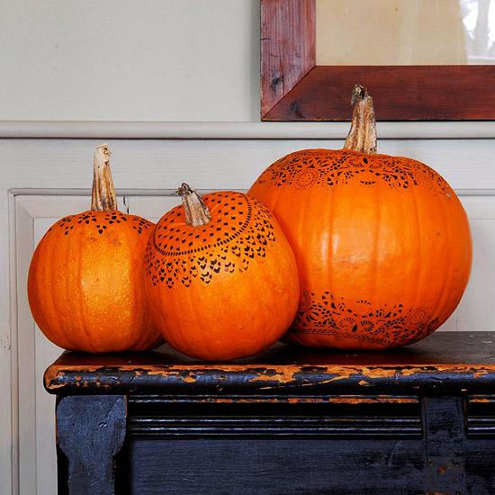 Doily Stenciled Pumpkin