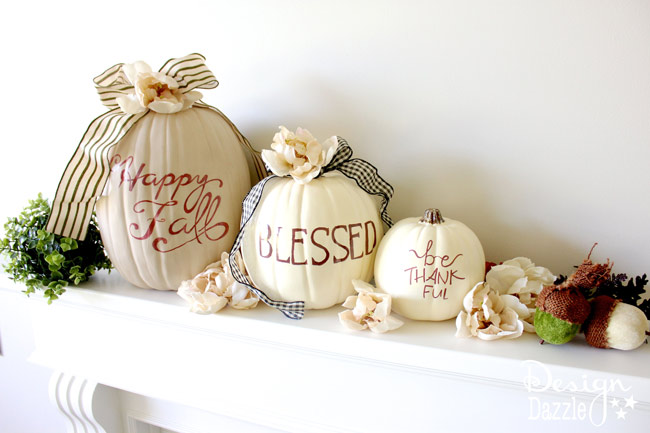 Happy Fall sharpie art pumpkins by Design Dazzle. The most AWESOME idea about these pumpkins is they are TWO-SIDED! One side is for Halloween and one side is for Fall!!