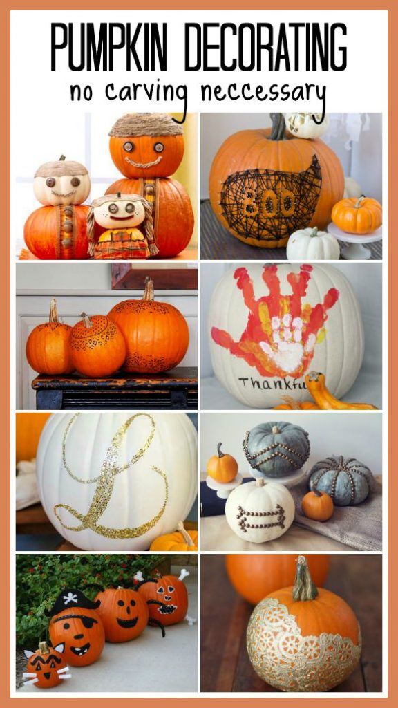 Pumpkin Decorating - No Carving Necessary! Creative and fun list of ideas that will make your pumpkin the hit of the neighborhood! Featured on Design Dazzle