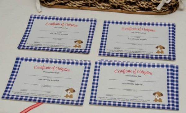 puppy party adoption certificates