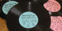 Vinyl record invitations for a 50's themed party
