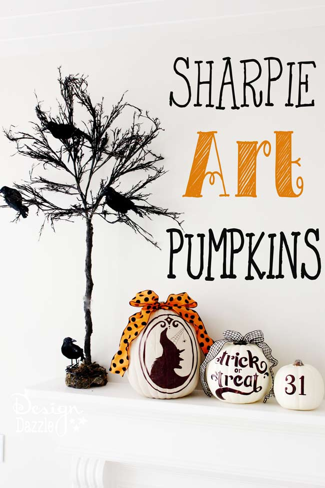 How to make Sharpie Pumpkin Art! Free printables.