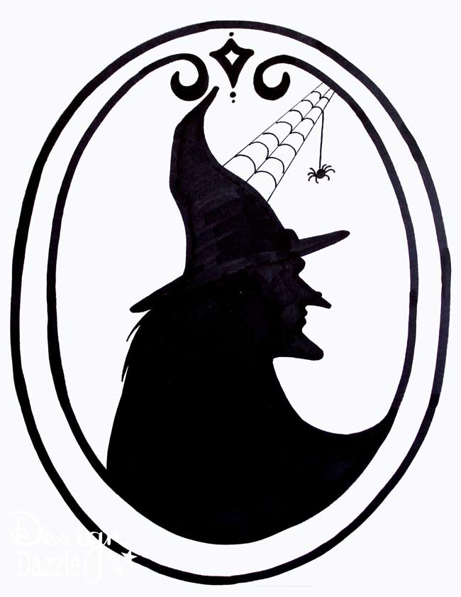 Free printable witch silhouette by Design Dazzle