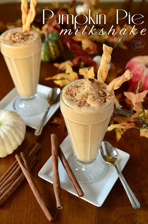 Perfect Pumpkin Recipes! Delicious Pumpkin Pie Recipe with Pie Crust Straws! A milkshake and pie combo? Dream come true.